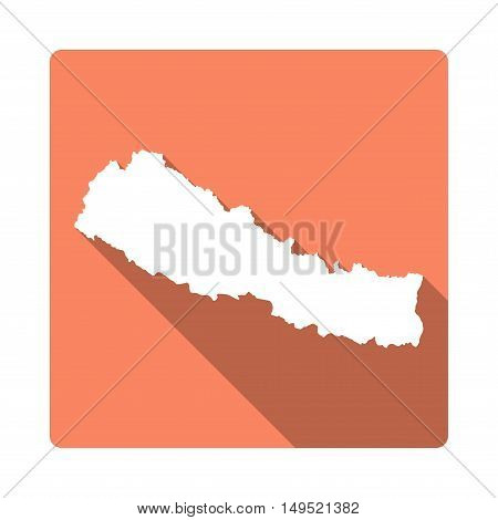 Vector Nepal Map Button. Long Shadow Style Nepal Map Square Icon Isolated On White Background. Flat