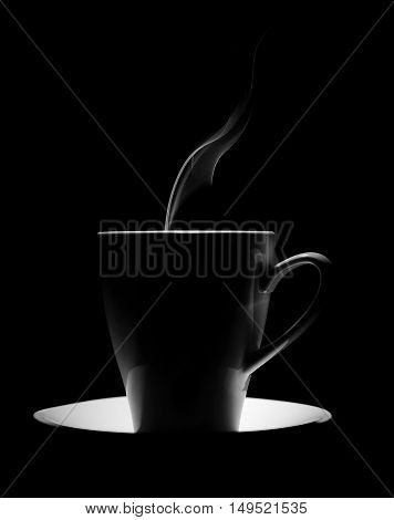 coffee cup on a black background with steam