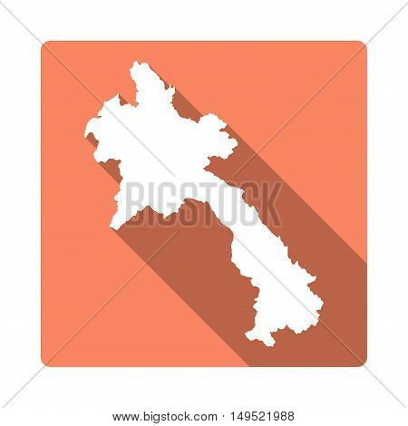 Vector Lao People's Democratic Republic Map Button. Long Shadow Style Lao People's Democratic Republ