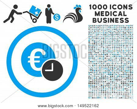 Euro Credit icon with 1000 medical commercial gray and blue glyph design elements. Design style is flat bicolor symbols white background.