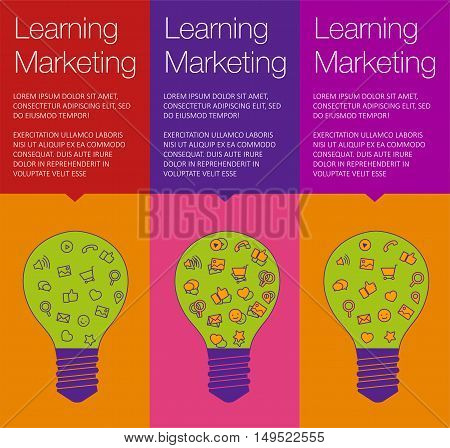 Vector banner with light bulb of idea. Vertical banner for education online courses. Colorful banner with ballon talk for marketing of idea. Tip and hint for brain. Banner for Hackathon event.