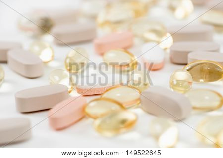 Vitamin supplements close-up, color image, close up
