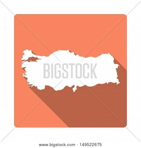 Vector Turkey Map Button. Long Shadow Style Turkey Map Square Icon Isolated On White Background. Fla