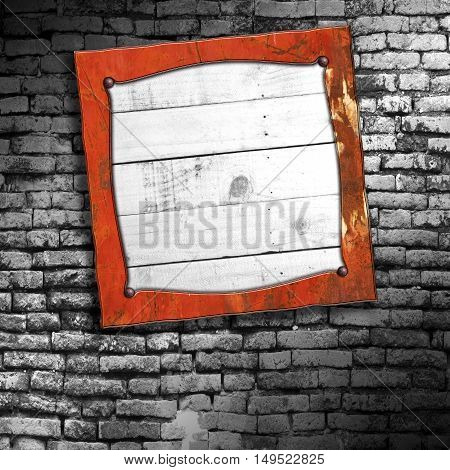 rusty metal frame on brick wall. 3d illustration background.