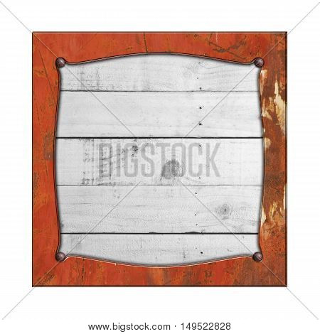 rusty metal frame on white rustic wood. isolated white background. 3d illustration. vintage signboard.
