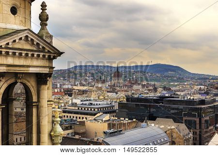 Budapest Panorama View from St. Stephen's Basilica