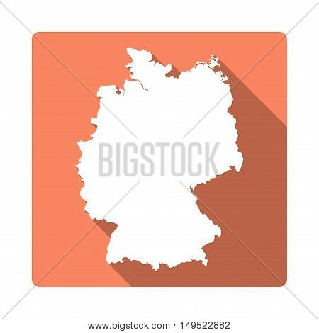 Vector Germany Map Button. Long Shadow Style Germany Map Square Icon Isolated On White Background. F
