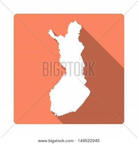 Vector Finland Map Button. Long Shadow Style Finland Map Square Icon Isolated On White Background. F