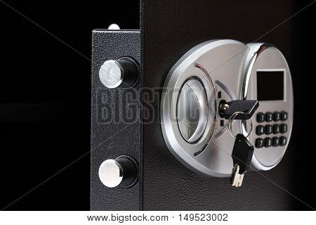 Opened Black Metal Safe Box With Numeric Keypad Locked System, Close-up