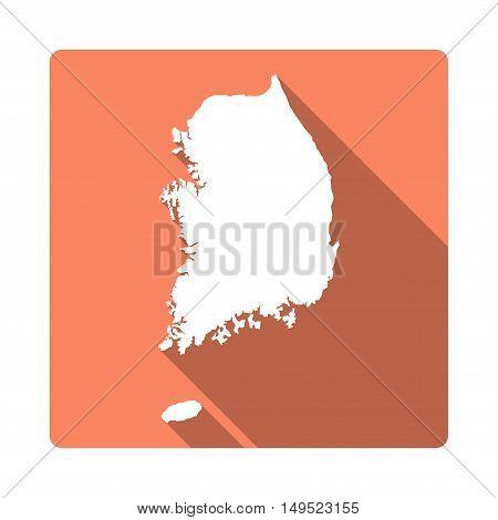 Vector Korea, Republic Of Map Button. Long Shadow Style Korea, Republic Of Map Square Icon Isolated