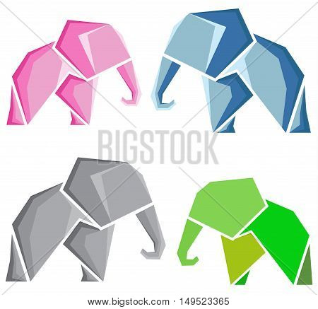 stylized vector image of an elephant. Four variants