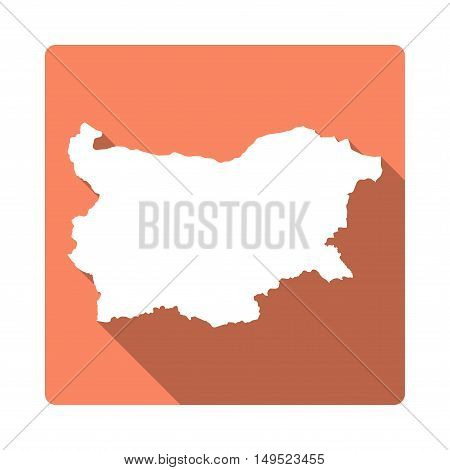 Vector Bulgaria Map Button. Long Shadow Style Bulgaria Map Square Icon Isolated On White Background.