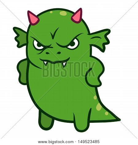 Vector hand drawn cartoon character illustration of a funny fat grumpy green dragon monster with pink horns looking forward with an angry displeased scowl standing with arms on hips front view
