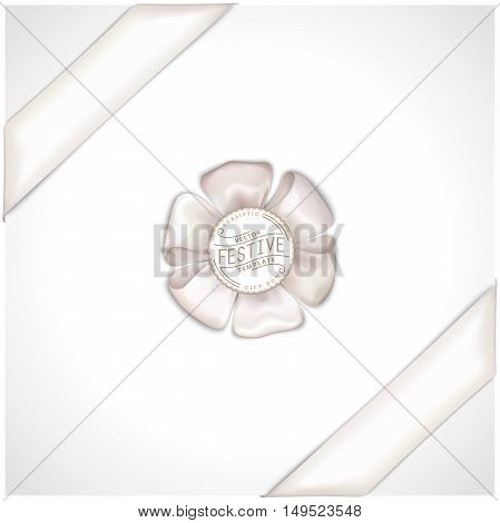 Vector realistic banner with satin ribbon and bow. Festive isolated template for web and print