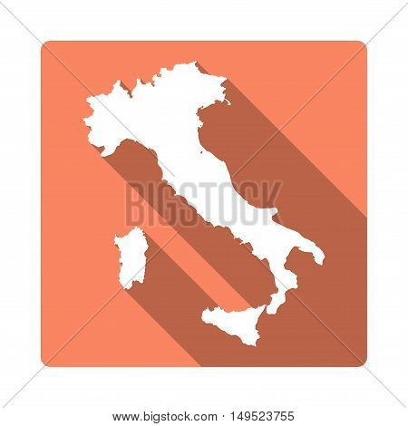 Vector Italy Map Button. Long Shadow Style Italy Map Square Icon Isolated On White Background. Flat