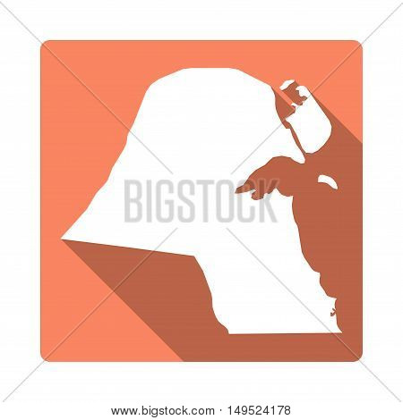 Vector Kuwait Map Button. Long Shadow Style Kuwait Map Square Icon Isolated On White Background. Fla