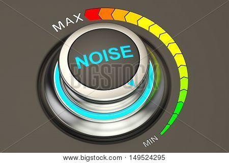 volume knob min level of noise. 3D rendering