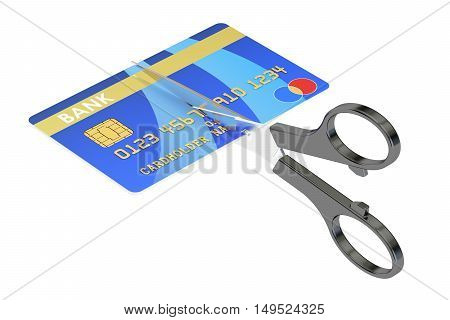 scissors cutting a credit card concept 3D rendering isolated on white background
