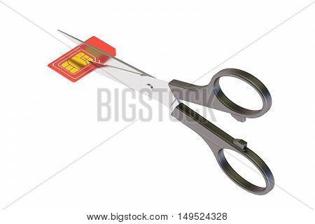 scissors cutting a sim card concept 3D rendering isolated on white background