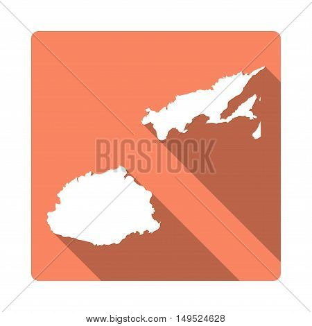Vector Fiji Map Button. Long Shadow Style Fiji Map Square Icon Isolated On White Background. Flat Or