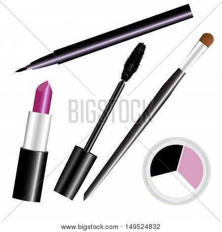make-up cosmetic set smoky isolated vector illustration
