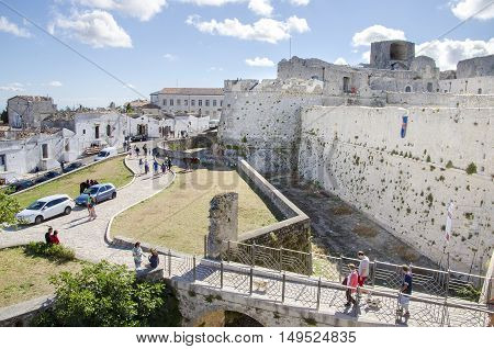 Gargano Italy 17 August 2016 - walls and moat of the castle of Monte Sant Angelo