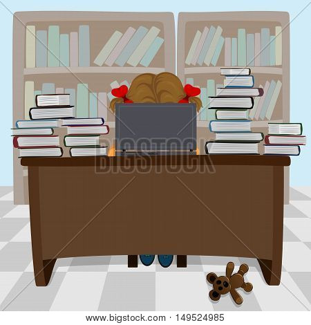 Girl working with laptop at table, illustration.