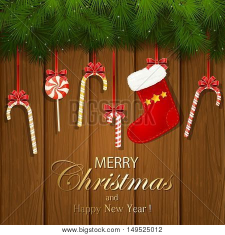 Inscription Merry Christmas and Happy New Year with decorative spruce branches, red Christmas sock and candy canes on a wooden background, illustration.