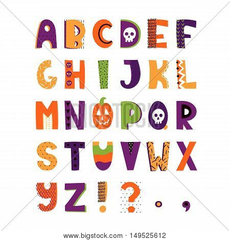 Halloween hand drawn colorful alphabet. Vector letters set. Funny style with decorations.