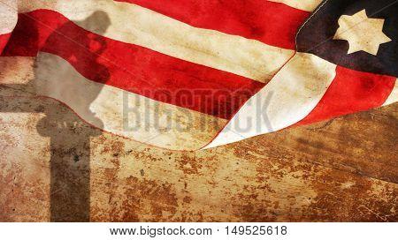 Thinker Shadow on Wood with Usa Flag