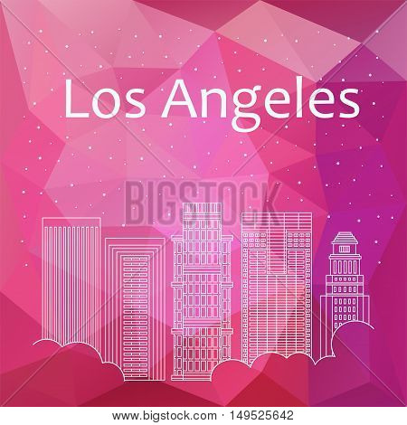 Los Angeles for banner poster illustration background. Vector background Los Angeles - snow is falling. Night life of Los Angeles. Hackathon workshop training in Boston. Holiday in Los Angeles