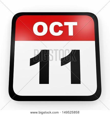 October 11. Calendar On White Background.