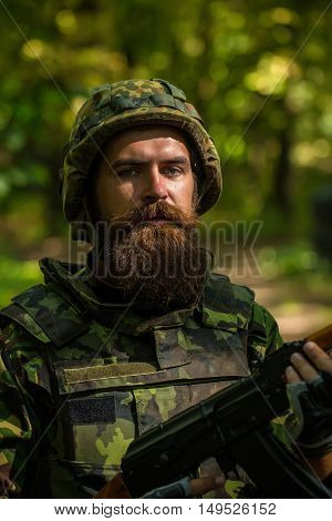Bearded Soldier In The Forest