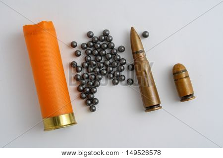 sleeve and shot hunting ammunition on a gray background