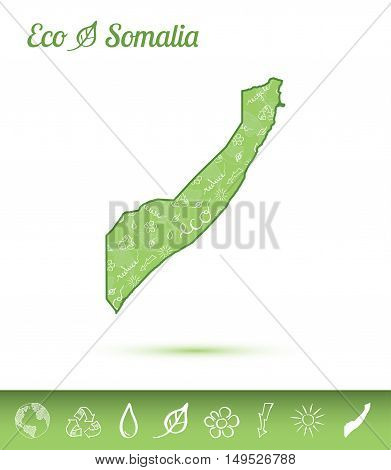 Somalia Eco Map Filled With Green Pattern. Green Counrty Map With Ecology Concept Design Elements. V