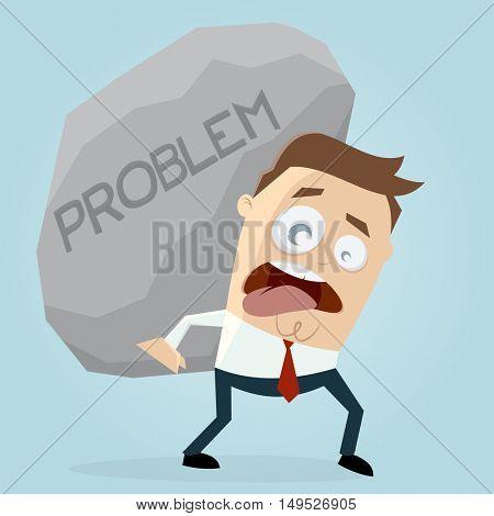 clipart of businessman carrying a big problem rock