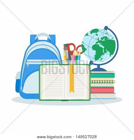 Open book with a bookmark, a stack of books and notebooks, satchel, globe, stationery set. Vector illustration isolated on white background. Education and learning concept. Flat design.