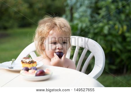 Sweet baby boy blond kid eats delicious plum and dessert cake on sunny summer day on natural background
