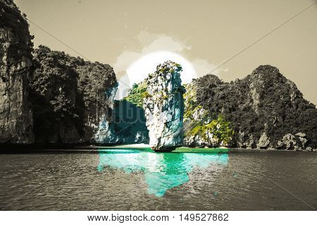 Beautiful view on limestone rocks of Ha Long Bay, one of the main travel destinations in Vietnam. Vintage painting, background illustration, beautiful picture, travel texture