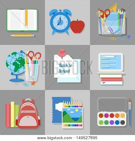 School supplies and items set. Back to school. Education and learning. Flat Vector illustration.