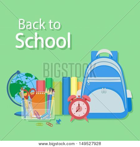 Vector colorful illustration of blue backpack, textbooks, red alarm clock, stationery set, Globe. Back to school text. Bright design for web, site, banner, poster.