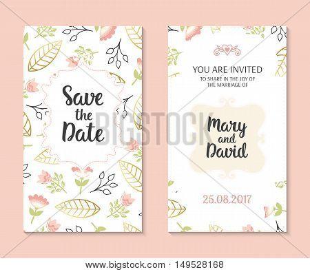 Wedding set. Romantic vector cards template. Vintage illustration