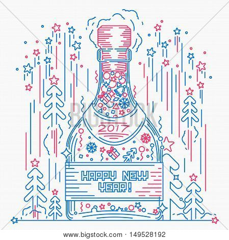 Bottle of champagne Happy new year line art style vector illustration