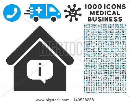 Hint Building icon with 1000 medical commerce gray and blue glyph design elements. Collection style is flat bicolor symbols white background.
