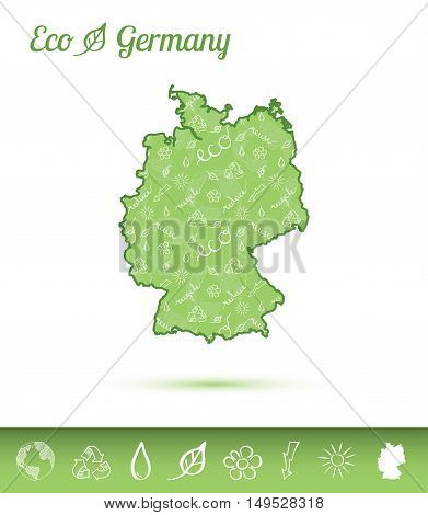 Germany Eco Map Filled With Green Pattern. Green Counrty Map With Ecology Concept Design Elements. V