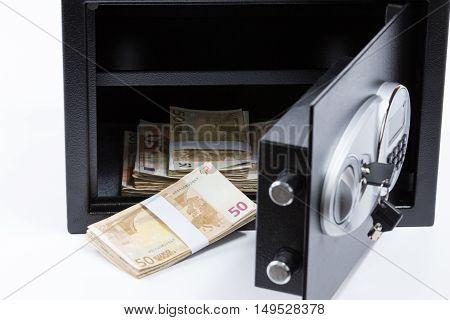 Safe Deposit Box, Pile Of Cash Money, Euros