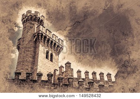 Almudaina palace with stone walls and towers against blue sky and clouds, Palma de Mallorca, Balearic islands, Spain. Vintage painting, background illustration, beautiful picture, travel texture