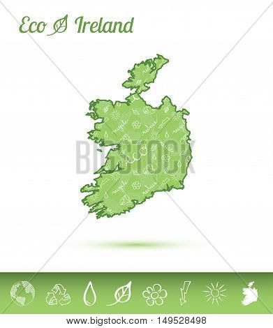 Ireland Eco Map Filled With Green Pattern. Green Counrty Map With Ecology Concept Design Elements. V
