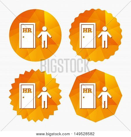 Human resources sign icon. HR symbol. Workforce of business organization. Man at the door. Triangular low poly buttons with flat icon. Vector