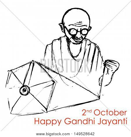 illustration of spinning wheel on India background for 2nd October Gandhi Jayanti